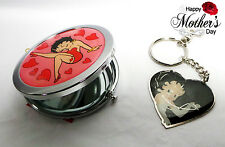 Betty Boop Mothers Day gift - Betty Boop Hearts Compact Mirror & Keyring