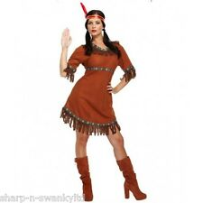 Ladies Sexy Native Red Indian Squaw Wild West Cowboy Fancy Dress Costume Outfit