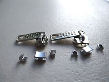 NYLON-COIL ZIPPER SLIDERS SIZE 8 & 5 IN (CHROME-SILVER) WITH TOP & BOTTOM STOPS.