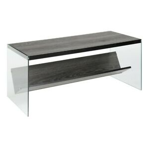 Convenience Concepts SoHo Coffee Table, Weathered Gray/Glass - 131557WGY