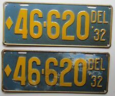 Delaware 1932 License Plate PAIR NICE QUALITY # 46-620