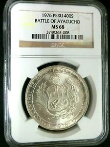 NGC MS68-Peru 1976 Battle Of Ayacucho Silver 400 Soles Super GEMBU Scarce