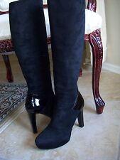 Authentic Gucci Black Suede Karen Patent Detail Tall Platform Boots Sz 36 $1350