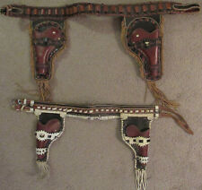 Two Vintage Hand Made Children's Western Cowboy Leather Holsters over 50 yrs old