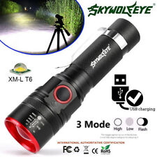 Zoom 10000 LM XML T6 LED Flashlight USB Rechargeable Torch 3 Modes Light Lamp