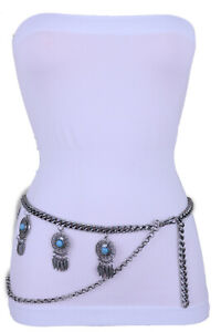 Women Attractive Belt Silver Metal Chain Feather Turquoise Charm XS S M L XL XXL