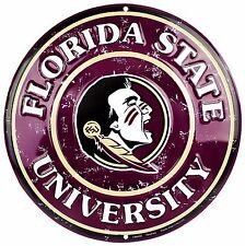 """Florida State University FSU Seminoles Embossed Metal 12"""" Circle Sign"""