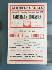 More details for gateshead's final league season v doncaster 26th september 1959