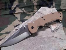 CRKT Crawford Kasper Desert Tan Folding Knife Satin Stainless Drop Pt 6773D