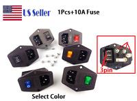IEC320 10A 120V Inlet Module Plug Fuse Switch Male Power Socket