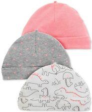 3PK Carter's 0-3 Mths Baby Girl Pink, Dinosaurs, Hearts Cap Hat Beanie Gift Set