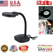 Tabletop Gooseneck Magnifying Lamp Magnifier 5X 10X Desk Adjustable Light Black.