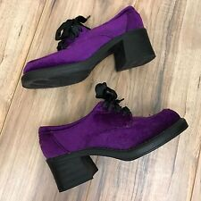 VTG 90s Ellemenno Purple Crushed Velvet Platform Shoes Womens Sz 8 Chunky Heel