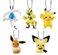 Bandai Pokemon Movie Figure Keychain set of 5 Lugia Zeraora Pikachu Eevee Pichu