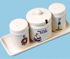 Seaside Sugar Bowl Salt & Pepper Shakers Kitchen Dining Kitchenware Serving Set