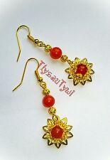 Gemstone Dangle Orecchini a forma di FIORE... ~ arancione rosso... Placcato Oro