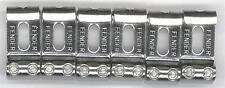Fender® Logo Stamped Chrome Vintage Steel Saddle Set Of 6~2 1/16th`s~Brand New