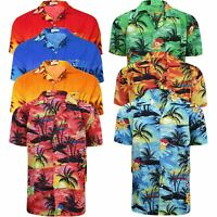 Mens Hawaiian Shirt Floral Palm Tree Sunset Surf Beach Party Holiday Stag Dance
