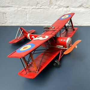 Large Red Plane Decorative Model Fighter Bi Plane Home Decorative Ornament Art