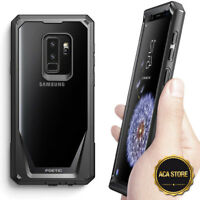 For Samsung Galaxy S9 Plus Case Clear Back Hybrid Bumper Shockproof Cover Black