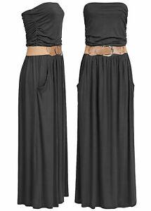 B19056380 Violet Damen Kleid Longform Bandeau Dress 2-Pockets Belt schwarz