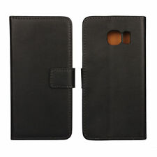 Black Genuine Leather Card Cash Wallet Case Cover For Samsung Galaxy S6 Edge