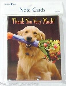 8 Leanin Tree Note Cards - Thank You Very Much Dog With Flowers Made in USA