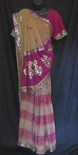 Light Brown and Deep Pink Half Half Saree with Blouse