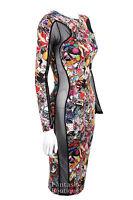 Ladies Funky Print Contrast Side Mesh Slimming Effect Womens Bodycon Dress 8-14