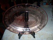 OVAL PINK DEPRESSION GLASS SERVING PLATTER ETCHED SHARON  ROSES VNTG.