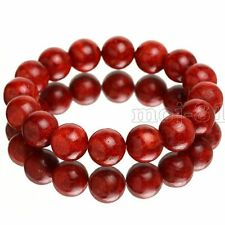 Fashion 10mm Natural Red Sponge Coral Round Gemstone Beads Stretchy Bracelet