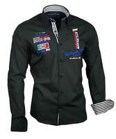 Herrenhemd Herren Hemd Shirt Oberhemd bestickt Binder de Luxe 81602 schwarz