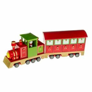 Wooden Advent Steam Train Christmas Calendar with 24 Small Drawers