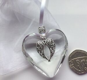 GUARDIAN ANGEL WINGS - CLEAR GLASS HEART HANGING DECORATION Memorial Gift White