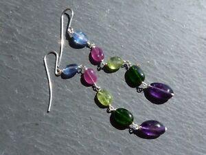Earrings Silver, Kyanite, Pink Sapphire,Peridot,Diopside,Amethyst