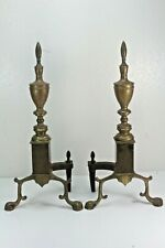 Antique Cast Iron and Brass Andirons For Fireplace.
