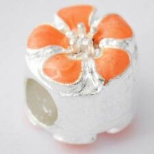 european beads lot 5pcs Silver Orange Enamel Flower Charm Beads Fit Bracelet