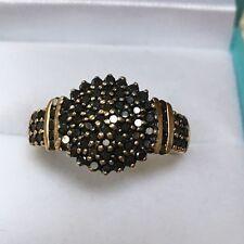9ct Gold 375 Black Diamond Wedding Ring, 1.00ct Diamonds,  Size P, 62 Diamonds)