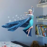 Wall Stickers Cartoon Movie Princess Elsa 3D Decal Wallpaper Snow For Kids Room