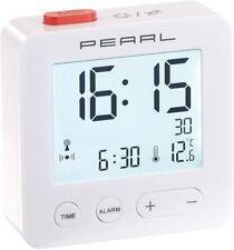 Digitaler Reise Funkwecker mit Thermometer Datum beleuchtetes XL Display weiss