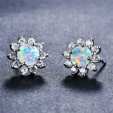 White Dangle Fire imitation Opal Stud Earrings Silver Filled Wedding Jewelry