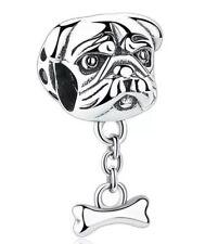 💎🎀 STERLING SILVER 925 BULLDOG DOG & BONE CHARM & GIFT POUCH
