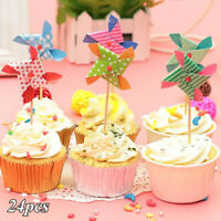 24 pcs Lovely Windmill Cake Toppers Cupcake Picks Wedding Party Cake Decor TOP