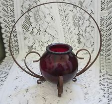 """VINTAGE ANCHOR HOCKING 4"""" ROYAL RUBY RED GLASS BALL SCALLOPED RIM & METAL STAND"""