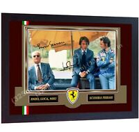 F1 icon Niki Lauda Enzo Ferrari Luca signed autographed photo print Framed