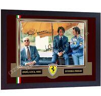 F1 icon Niki Lauda Enzo Ferrari Luca signed autographed photo print Framed