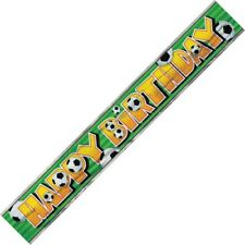 SOCCER HAPPY BIRTHDAY FOIL BANNER 3.6M/12' SOCCER THEME B'DAY PARTY DECORATION
