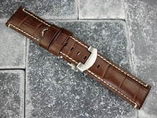 24mm Brown Leather Strap & Deployment Buckle Watch Band Set Pam 1950  BRW