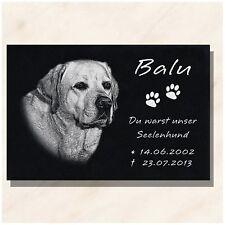 Granit Tier Grabstein Grabplatte Hund mit Foto + Text Gravur 30 x 20 cm  DS-102