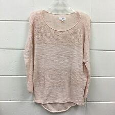 Lou & Grey Women's Batwing Sleeves Shirt Sz XS Light Pink Crochet Knit